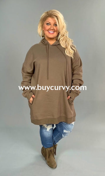 Hd-K {Lucky Girl} Tan Hooded Sweatshirt With Side Pockets Hoodies