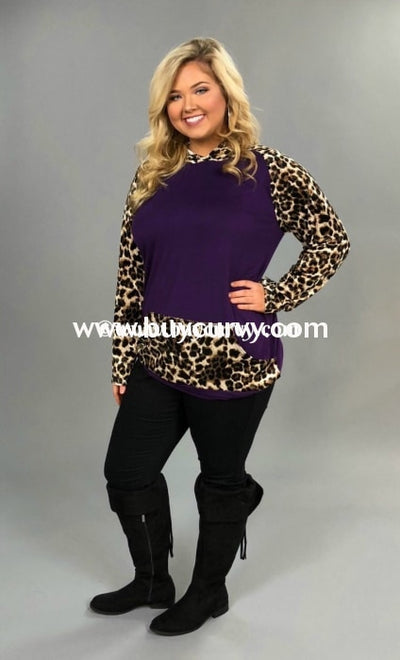 Hd-K Purple Velvet With Leopard Print Sleeves/pocket Sale! Runs Small Hoodies