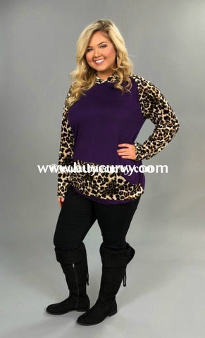 f520ad9a24151 Hd-K Purple Velvet With Leopard Print Sleeves pocket Sale! Runs Small  Hoodies