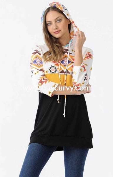 Hd-K {Reality Check} Black/mustard Aztec Contrast Hoodie Hoodies