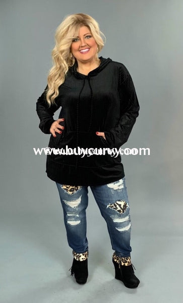 Hd-N Black Velvet Ribbed With Drawstring (Runs Small) Sale!! Hoodies