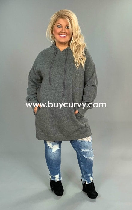 Hd-O {Lucky Girl} Gray Hooded Sweatshirt With Side Pockets Hoodies