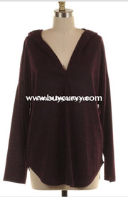 Hd-O {Such A Cutie} Dark Plum V-Neck Hi-Lo Sale!! (Runs Small) Hoodies