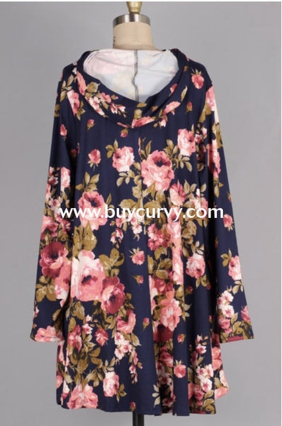 Hd-Q {Best Of My Love} Navy Floral Tunic With Hood Hoodies
