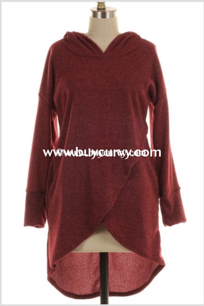 Hd-R {All That Jazz} Burgundy Ribbed Hoodie With Overlap Design Hoodies