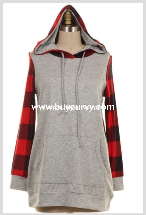 Hd-R Heather Gray Hoodie With Cherry/obsidian Plaid Sleeves Hoodies