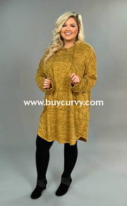 Hd-S {Live It Up} Gold Stretchy Knit Long Hoodie Dress Extended Plus Hoodies