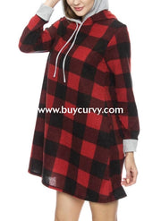 Hd-S {This Is It} Black/red Plaid Stretchy Knit Dress With Hood Hoodies