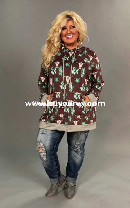 Hd-T {Sharp-Dressed Woman} Cactus Bullhead Hoodie Extended Plus Hoodies