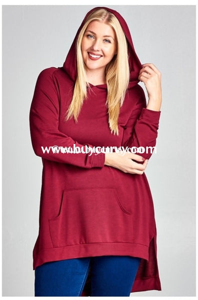 Hd-U Burgundy Hi-Lo Oversized Tunic With Front Pocket Hoodies