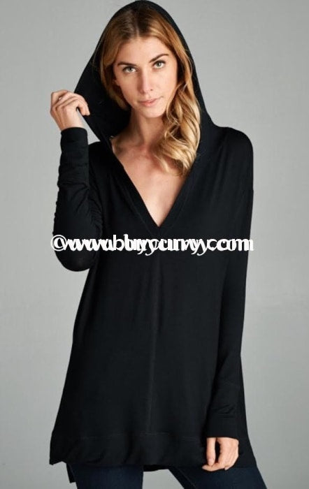 Hd-Y Solid Black V-Neck Side Slit Double-Stitching Sale!! Hoodies