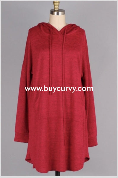 Hd-Z {Live It Up} Red Stretchy Knit Long Hoodie Dress Extended Plus Hoodies