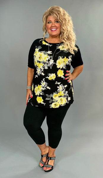 CP-O {What If} Black Short Sleeved Top with Yellow Flowers