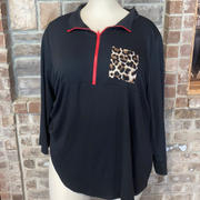 10-16 CP-B {Hard Being Purrfect} Black Red Leopard Pullover CURVY BRAND EXTENDED PLUS SIZE 3X 4X 5X 6X