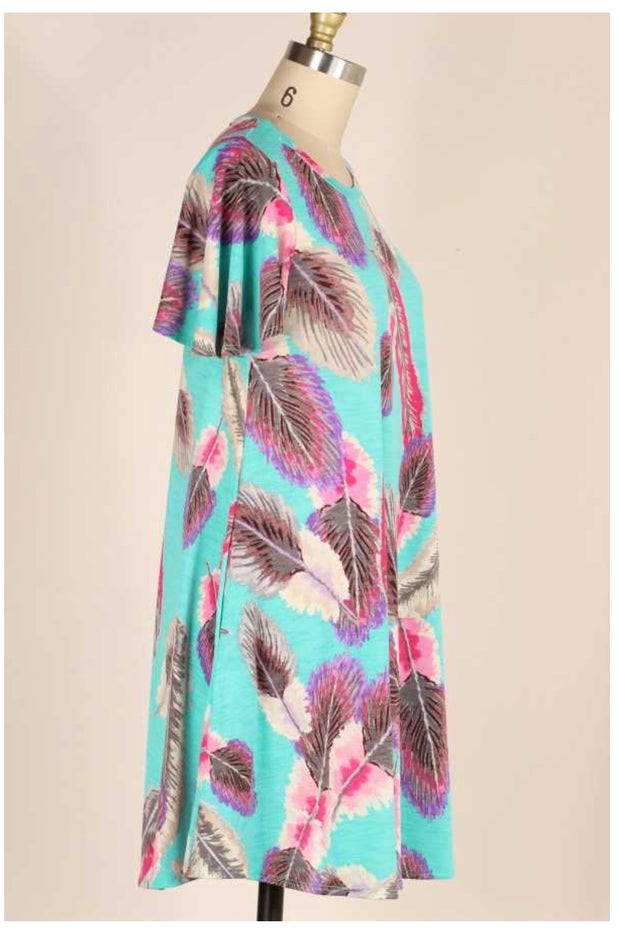 PSS-F {Feather Light} Teal Flutter Sleeve Dress Pink Feathers PLUS SIZE 1X 2X 3X SALE!!