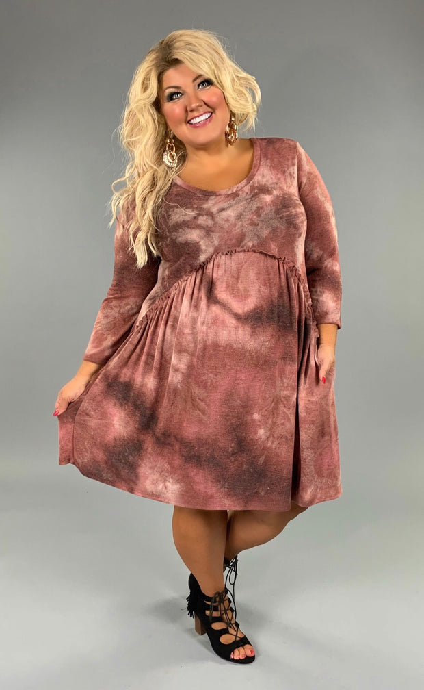 PQ-Y Soft Mauve Tie-dye Babydoll Dress  SALE!!