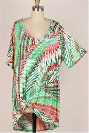 61 PSS-D {On Island Time} Multi Color Knot Detail V-Neck Tunic EXTENDED PLUS 3X 4X 5X