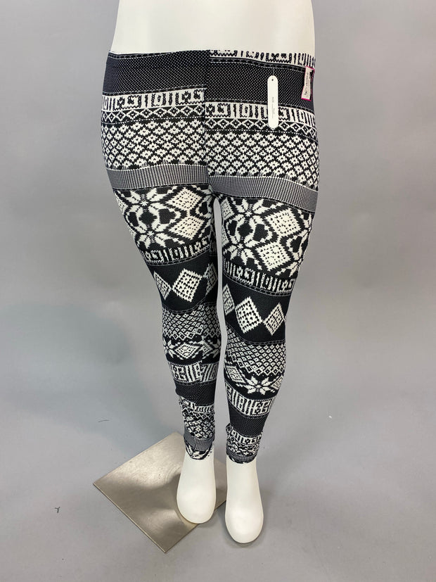 LEG-G Black/White Snowflake Print Leggings