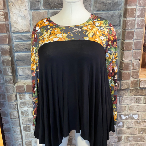 11-03 CP-R {Code Word Cute} Black With Floral Neck Detail PLUS SIZE XL 2X 3X