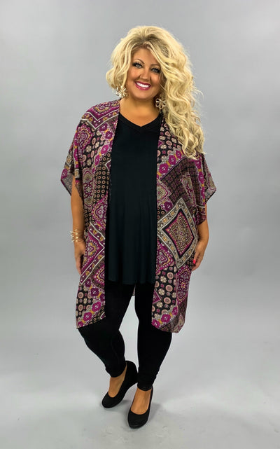 OT-L {Date Night} Black, Purple Multi Print Sheer Cardigan PLUS SIZE 1X 2X 3X