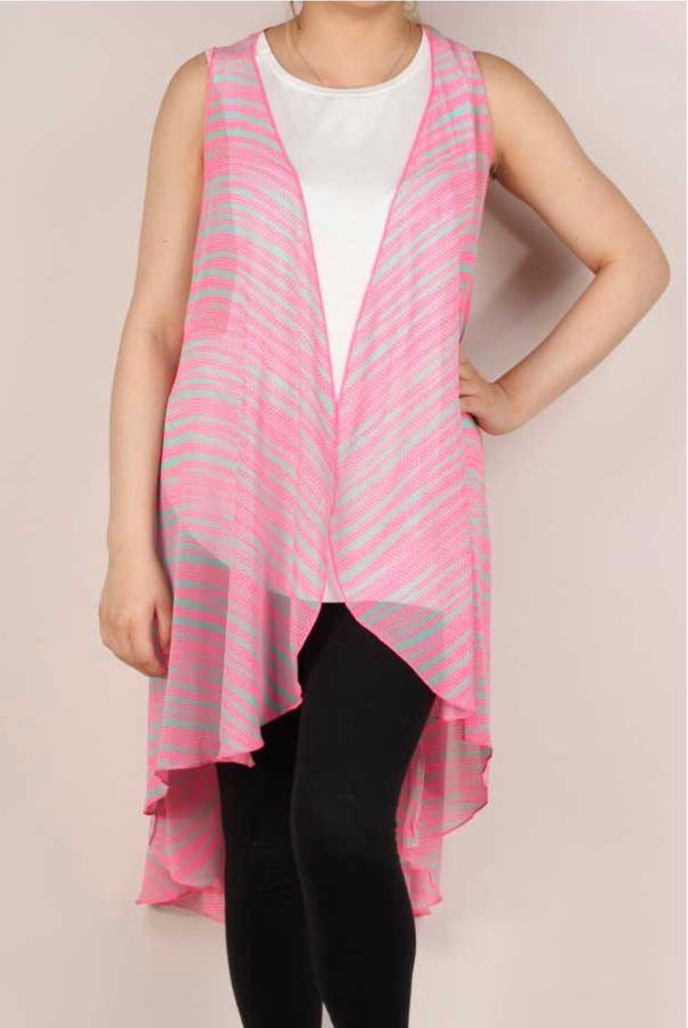 51 OT-E {Uniquely Pink}  Pink Grey Stripe Vest Plus Size XL 2X 3X