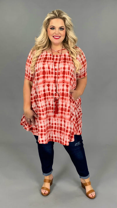 PSS-C {Fire & Ice} Chili Red/Pearl White Tie-Dye Tunic/Dress PLUS SIZE 1X 2X 3X