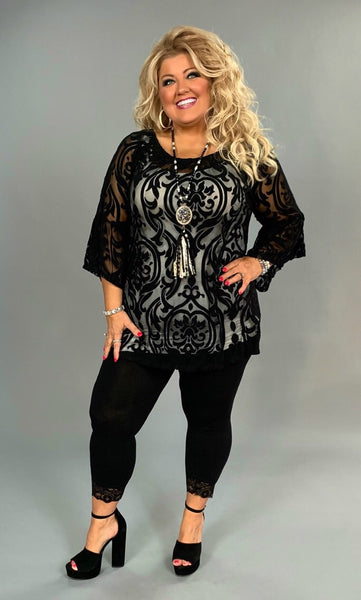SQ-E Black Damask Print Sheer With Bell Sleeves SALE!!
