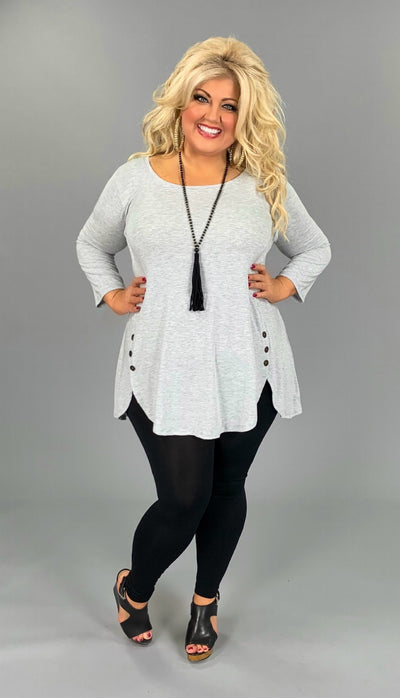 SD-G (All Put Together) H. Grey Top With Dolphin Hem And Buttons PLUS SIZE 1X 2X 3X