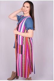 OT-M (Beautiful Words) Multi-Color Chevron Printed Vest 2X/3X