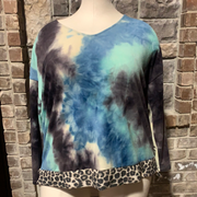37 CP-H {Best Day Forever} SALE!! Blue Mint Tie Dye Top PLUS SIZE XL 2X 3X