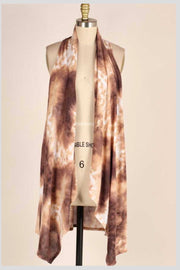OT-C {You Get Me} Mocha Brown Tie Dye Vest EXTENDED PLUS SIZE 3X 4X 5X