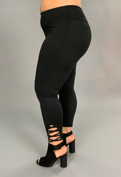 SQ/40 {Plan On It} Black Spandex Leggings Criss-Cross Detail