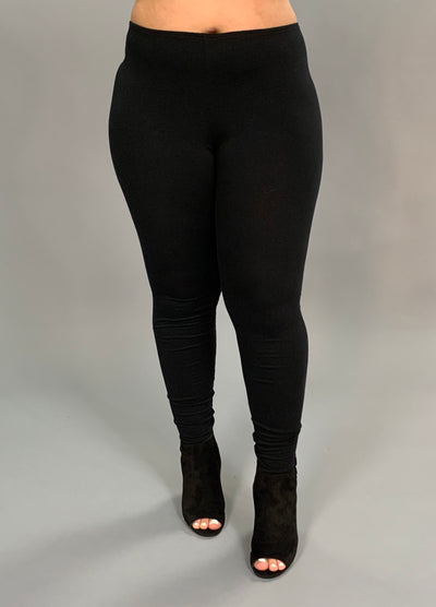 SQ/45-Solid Black Leggings (94% Cotton-6% Spandex)