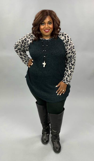 CP-C {Live & Love} Black Grey Leopard Sleeve Contrast Top EXTENDED PLUS SIZE 3X 4X 5X