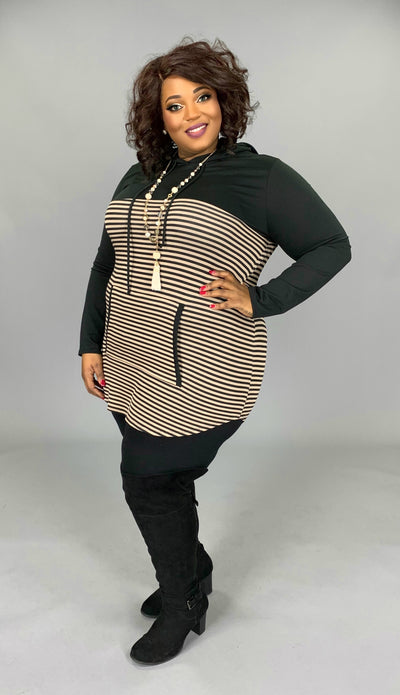 HD-J {Made My Day} Black/Taupe Striped Contrast Hoodie PLUS SIZE 1X 2X 3X SALE!!