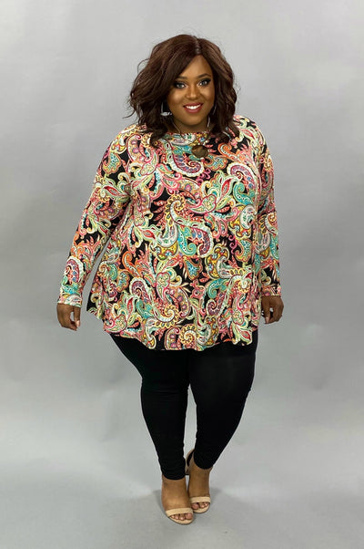10-02 PLS-E {Without A Care} Multicolored Paisley Printed Tunic EXTENDED PLUS SIZE 3X 4X 5X
