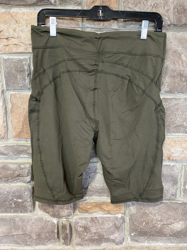 BT-A1 {Olive Oil} Olive Bike Shorts W/Back Key Pocket PLUS SIZE 1X 2X 3X SALE!!