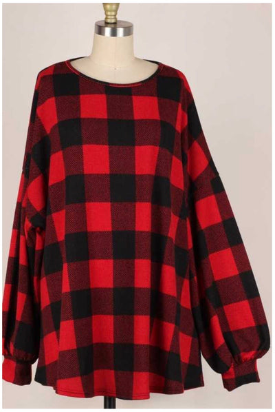 11-03 PLS-P {Simply Good} Red Black Plaid Top EXTENDED PLUS SIZE 3X 4X 5X