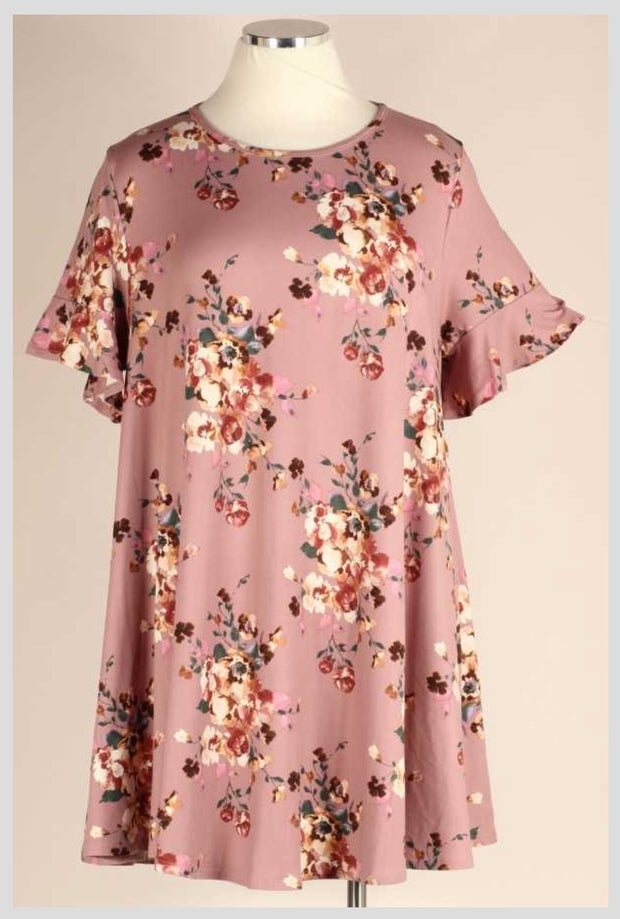 PSS-M {Isn't It Lovely} Mauve & Ivory Floral Ruffle Sleeve Dress BUTTER SOFT EXTENDED PLUS SIZE 3X 4X 5X