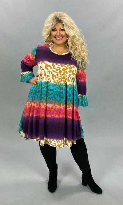 11-09 PQ-D {Not Afraid} Multicolored Leopard Babydoll Dress EXTENDED PLUS SIZE 4X 5X 6X