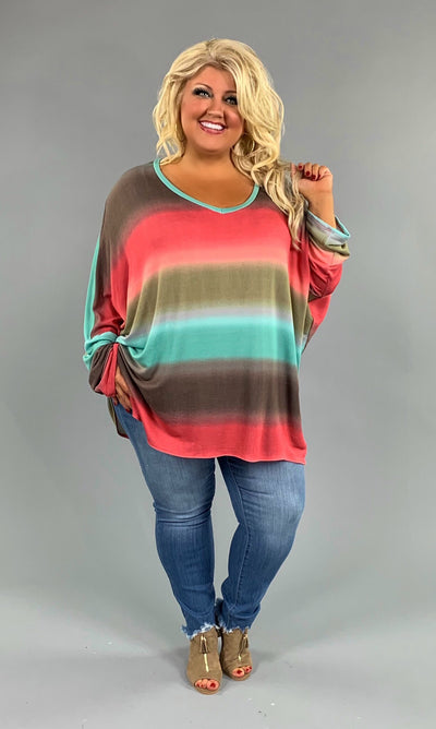 PLS-T {Fall For Your Type} Gradient Dye Hi-Lo V-Neck Top Extended Plus
