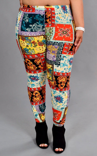 SQ/43-Tribal/Floral Patchwork Printed Leggings