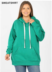 HD-O {Let's Be Casual} Green Sweatshirt Hoodie with Front Pocket  SALE!!