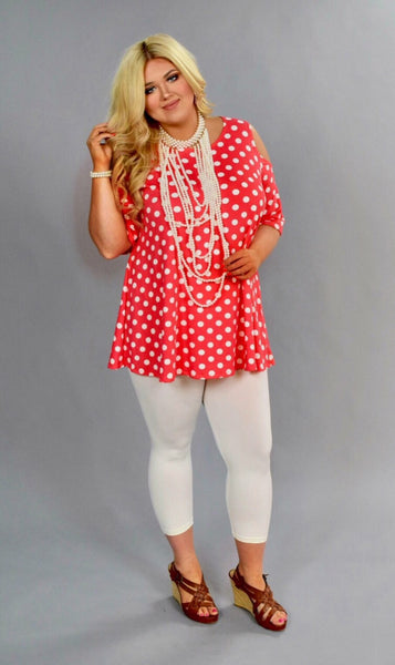 OS-A {Connect The Dots} Coral Polka-Dot Cold Shoulder Tunic