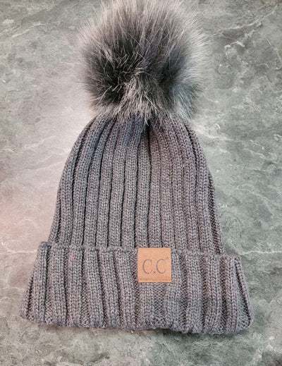 HAT-Ribbed Style C.C. Beanie With Matching Fur Ball