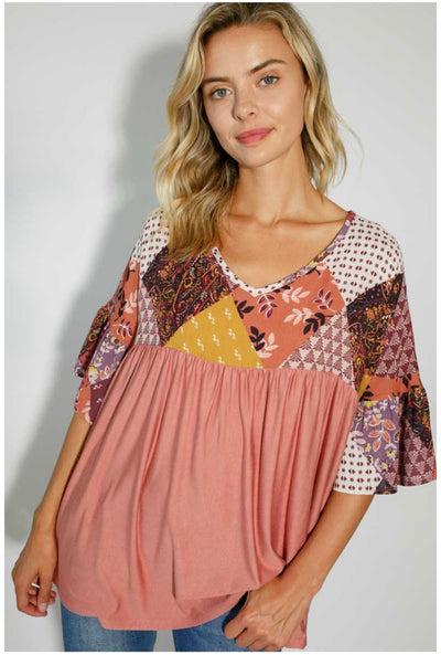 CP-Z {You Look Mauve-lous} Multi-Print Babydoll Tunic PLUS SIZE 1X 2X 3X