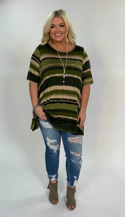 PSS-J {Follow Me} Multi-Tone Green Striped Tunic W/ Pockets Extended Plus