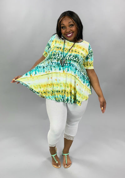 PSS-F {Lemon Zest} Yellow Green Bamboo Tie Dye Tunic EXTENDED PLUS SIZE 3X 4X 5X