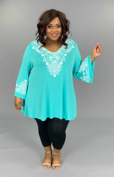 SD-B (Girls Trip) Aqua V-Neck Tunic W/ Crochet Detail EXTENDED PLUS 3X 4X 5X 6X