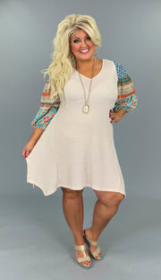 51 CP-C {Sweet Life} Cream Babydoll Tunic w Multi Sleeves Plus Size XL 1X 2X